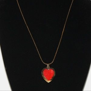 Vintage Necklace with gold chain and red heart
